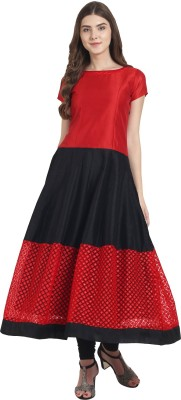 Nayo Women Embellished Anarkali Kurta(Red)