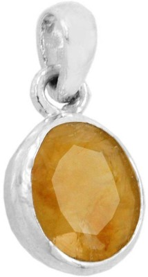 Kataria Jewellers 3.87 Carat 4.25 Ratti Natural Yellow Sapphire Pukhraj/Pushkraj/Pokhraj Asht Dhatu Metal Pendant