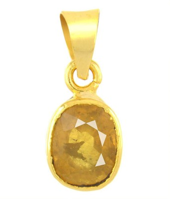 Tejvij and sons 4.25 ratti yellow sapphire pendent panchdhatu with gold plated for men & women… Gold-plated Sapphire Metal Pendant