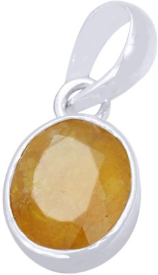 Kataria Jewellers 6.6 Carat 7.25 Ratti Natural Yellow Sapphire Pukhraj/Pushkraj/Pokhraj Panch Dhatu Metal Pendant
