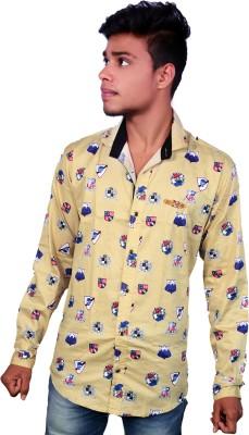 Layba Men's Printed Casual Yellow Shirt