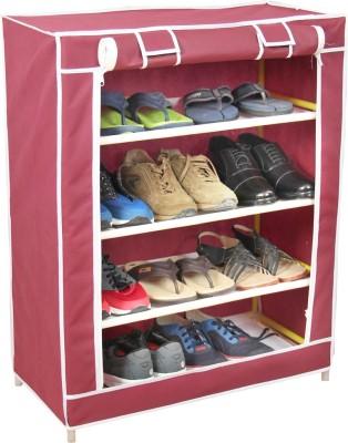 Novatic Plastic Collapsible Shoe Stand(Maroon, 4 Shelves) at flipkart