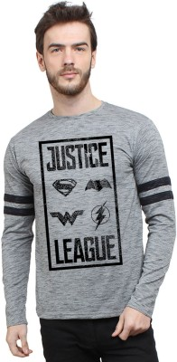 SayItLoud Justice League Printed Men's Round Neck Grey, Black T-Shirt
