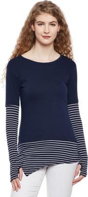 HYPERNATION Striped Women Round Neck Dark Blue, White T Shirt HYPERNATION Women's T shirts