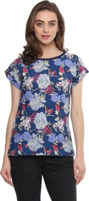MAYRA Casual Cape Sleeve, Short Sleeve Floral Print Women Blue Top MAYRA Women's Tops