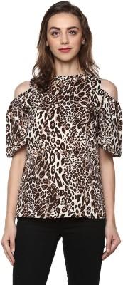 MAYRA Casual Cold Shoulder Animal Print Women Multicolor Top MAYRA Women's Tops