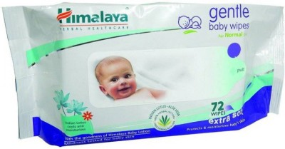 Himalaya Gentle Baby Wipes, 72 Pieces (Pack of 2)