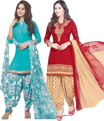 Divastri Crepe Floral Print, Solid, Printed Salwar Suit Dupatta Material(Un-stitched)