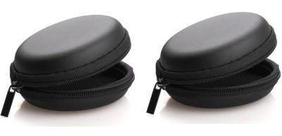 ReTrack Leather Zipper Headphone Pouch Black ReTrack Headphone Pouches   Cases