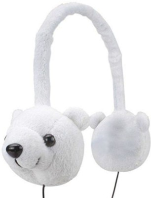ShopyBucket KDZ Soft Animal Over-Ear Headphones with Arctic Polar Bear Design Wired, Bluetooth Headset with Mic(White, Over the Ear)