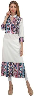 Shree Wow Casual Printed Women Kurti(White)