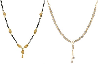 8b9e4d1dfe Zeneme Zeneme Combo of 2 Gold Plated Mangalsutra Necklace for Women Alloy  Mangalsutra