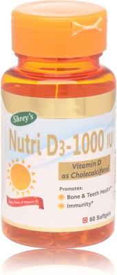 Shrey's Vitamin D 1000 IU, Nutri D3 - 60 Capsules (A Daily Dose)(60 No)