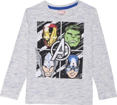 Avenger Boy's Graphic Print Cotton Polyester Blend T Shirt(Grey, Pack of 1)