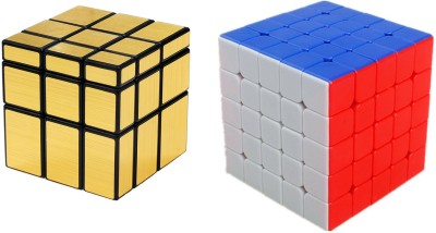 Emob Magic Rubik Gold Mirror & 5x5 Combo Puzzle Cube Brainstorming Game Toy(2 Pieces)  available at flipkart for Rs.649