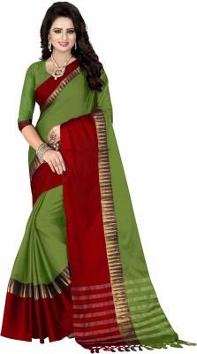 Bombey Velvat Fab Self Design Kanjivaram Cotton Silk, Cotton, Silk, Jacquard Saree(Green, Red)