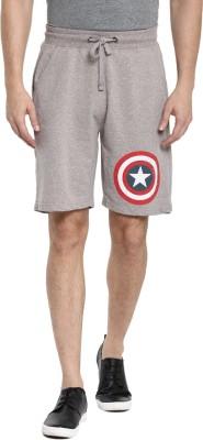 Captain America Graphic Print Men's Grey Basic Shorts