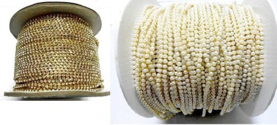 swing arts Stone Chain & Pearl Chain Combo for Bangle-Jhumka-Jewelry Designing 1.2 mtr each  available at flipkart for Rs.199