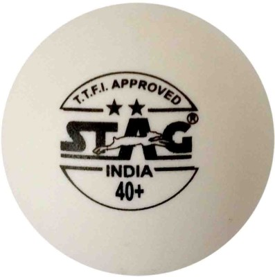 Stag Two Star Plastic Table Table Tennis Ball(Pack of 6, White)