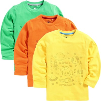 JusCubs Boys Printed Cotton T Shirt(Multicolor, Pack of 3)