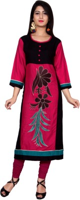 Metro Fashion Embroidered Women Straight Kurta(Black)