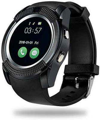 Lionix V8 Bluetooth Smartwatch With Sim & Tf Card Support With Apps Like Facebook And Whatsapp Touch Screen Multilanguage Android/Ios Mobile Phone Wrist Watch Phone With Activity Trackers And Fitness Band Black Smartwatch(Black Strap free size)