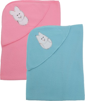 First Trend Solid Crib Hooded Baby Blanket(Polyester, BabyPink, skyblue)