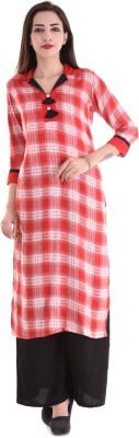 Style N Shades Women Checkered Straight Kurta(Red)