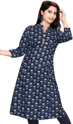 Meher Impex Printed Women Flared Kurta(Blue, Beige)