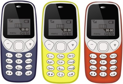I Kall K71 Pack of Three Mobile(Dark Blue & Yellow & Red)