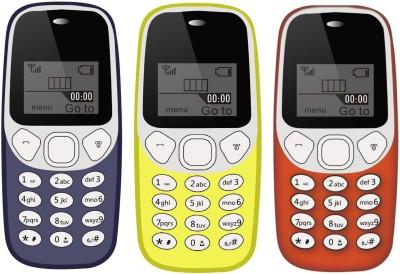 I Kall K71 Pack of Three Mobile(Dark Blue & Yellow & Red)