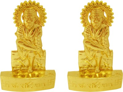 Wacky Sai Baba God Idol Set Of 2 For Car Dashboard Diwali Gifts Showpiece  -  10.5 cm(Gold Plated, Gold)  available at flipkart for Rs.239