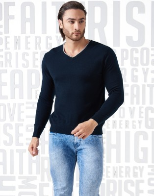 Metronaut Solid V-neck V-neck Casual Men Dark Blue Sweater at flipkart