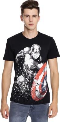 Captain America Graphic Print Men's Round Neck Black T-Shirt