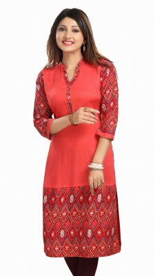Meher Impex Solid Women Straight Kurta(Pink)