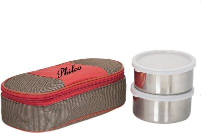 Lush Royal Red Brown Lunchbox 2 Steel Container 2 Containers Lunch Box 400 ml