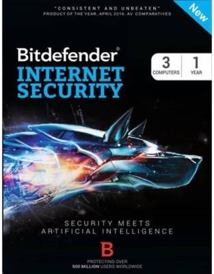 Bitdefender -Internet Security 3 PC / 1 Year (Single key) , Latest Version