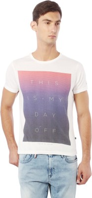 Allen Solly Printed Men Round Neck White T-Shirt  available at flipkart for Rs.540