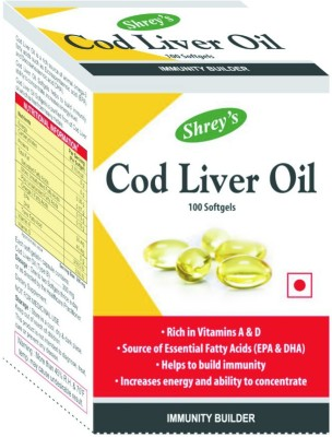 Shrey's Cod Liver Oil, Vitamins A & D - 100 Capsules (Immunity Booster)(100 No)  available at flipkart for Rs.269