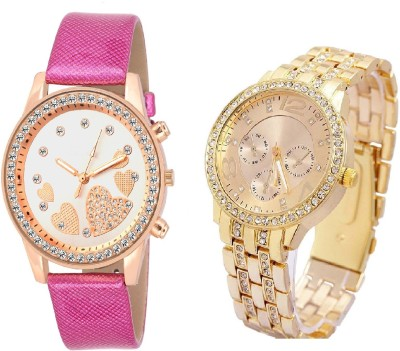 SOOMS Rhinestone Studded Analog GOLD Dial artificial chronograph WITH QUEEN OF HEARTSSOOMS SL-0068 SUPER BEAUTIFUL DIAMOND STUDDED ladies party wear Watch  - For Women