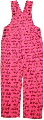 KiddoPanti Dungaree For Girls Casual Printed Cotton Blend(Maroon, Pack of 1) at flipkart