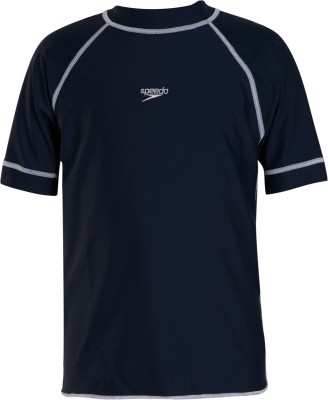 Speedo Boys Swimwear Short Sleeve Suntop(Blue, Pack of 1)