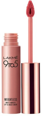 Lakme 9 to 5 Weightless Matte Lipstick Mousse Lip and Cheek Color, Candy Floss