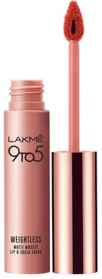 Lakme 9 to 5 Weightless Matte Lipstick Mouse Lip and Cheek Color, Coral Cushion