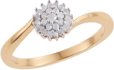 Vaibhav 0.15 ct Diamond Ring For Girl With 18K Gold Plated 925 Sterling Silver Sterling Silver Diamond 18K Yellow Gold Plated Ring