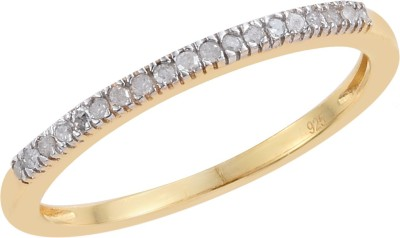 Vaibhav 925 Sterling Silver Ring For Girls 0.11 ct Diamond Band Ring US Size 8 Sterling Silver Diamond 18K Yellow Gold Plated Ring