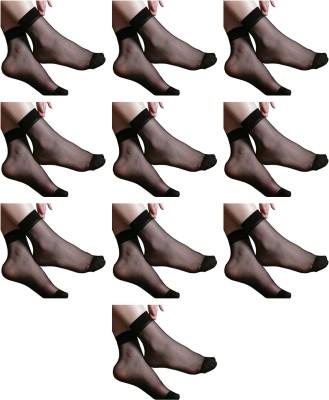 NAWAB Women Solid Ankle Length Socks(Pack of 10)