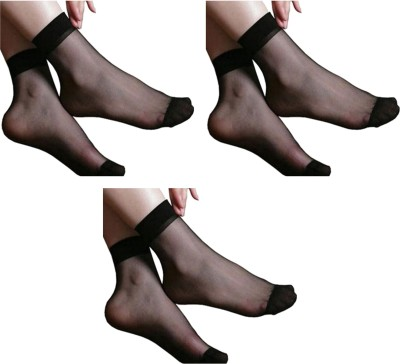NAWAB Women Solid Ankle Length Socks(Pack of 3)