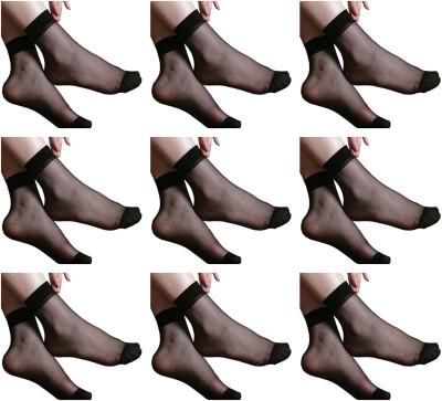 NAWAB Women Solid Ankle Length Socks(Pack of 9)