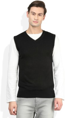 Super Weston Solid V-neck Casual Men's Black Sweater